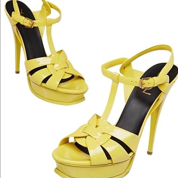 Saint Laurent Shoes - Patent Yellow Saint Laurent Tributes